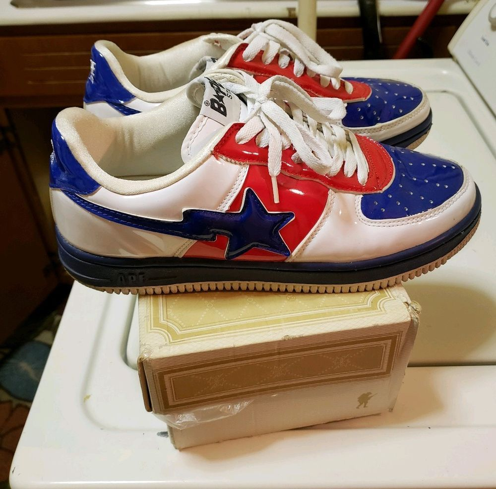 A Bathing Ape Bape Sta FootSoldier Sz US 10 RED WHITE BLUE USED VINTAGE  CLASSIC  fashion  clothing  shoes  accessories  mensshoes  athleticshoes  (ebay link) fa154f2b5