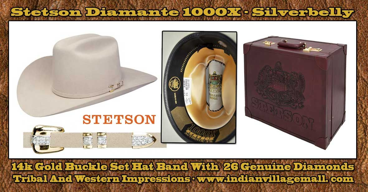 Stetson 1000X Diamante Cowboy Hat- Silverbelly From Tribal And Western  Impressions - www.indianvillagemall.com c5e04fdda34