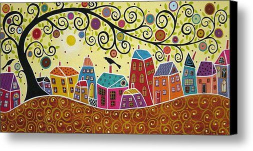 Houses Birds And A Tree Canvas Print / Canvas Art by Karla Gerard