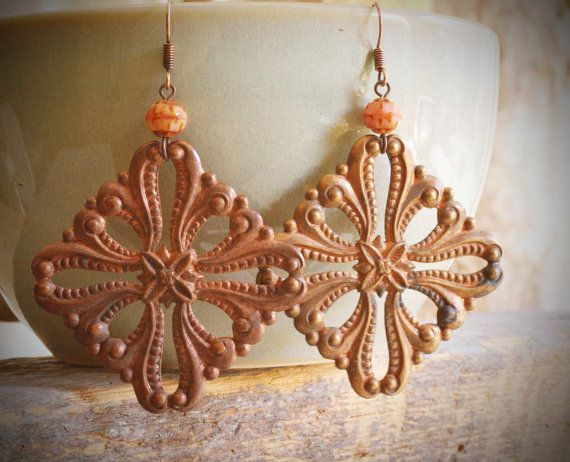 rococo vintage copper filigree stamping earrings by valbdesigns