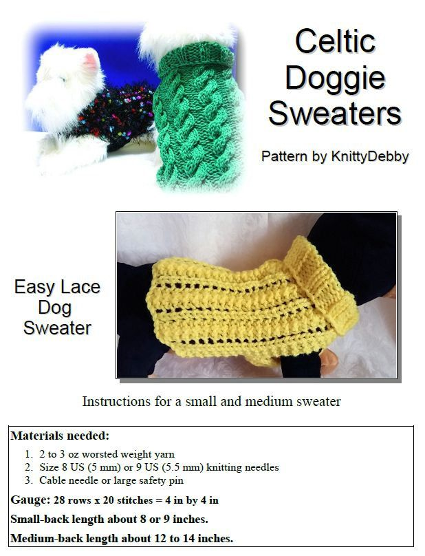 Knit Dog Sweater knitting pattern Easy \'2 row\' Lace design ...