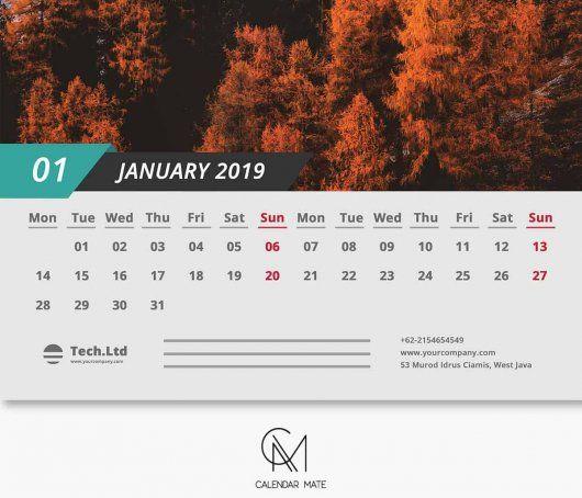Senja Simple and Clean Calendar Design Template Printable 2019 PSD