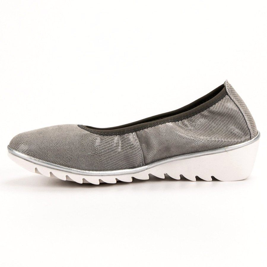 Filippo Skorzane Baleriny Na Koturnie Szare Leather Wedges Colorful Shoes Women Shoes