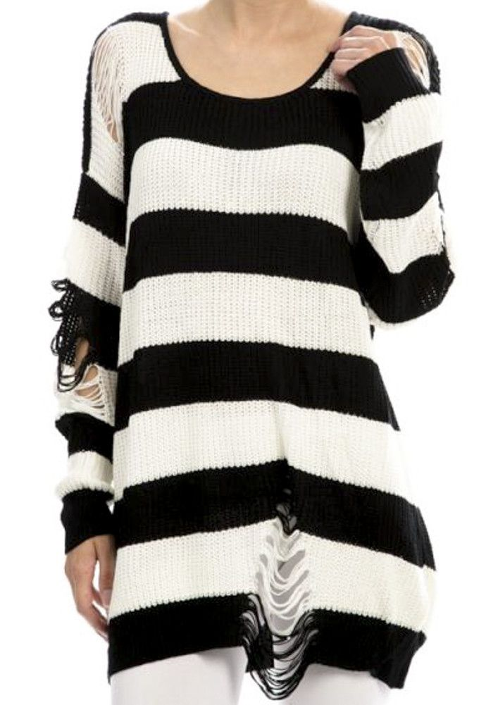 bd31c857f53f Black   White Striped Distressed Pullover Punk Knit Sweater