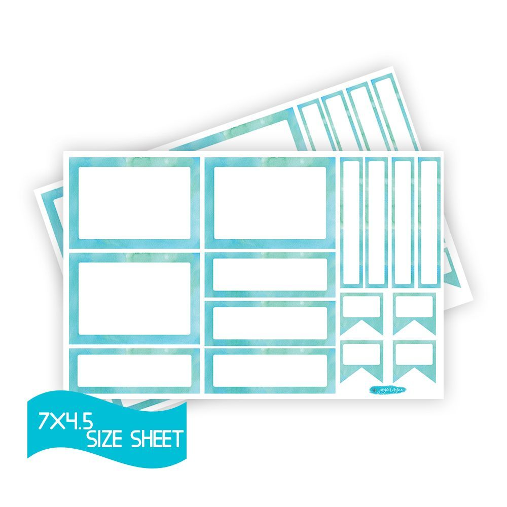 Set of Blue Watercolor Blank Stickers