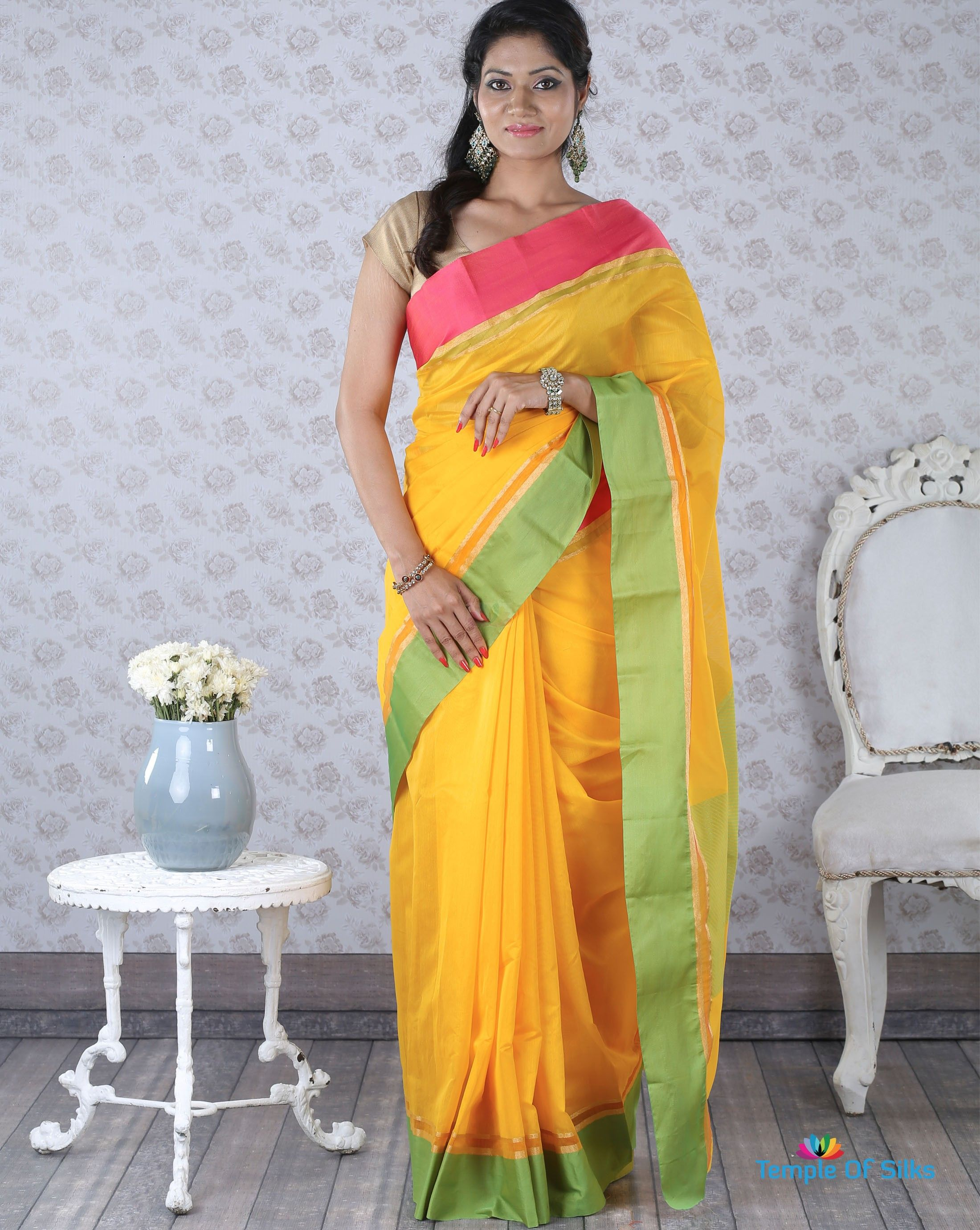 b3a02280142da Mango yellow cotton silk saree with ganga-jamuna border
