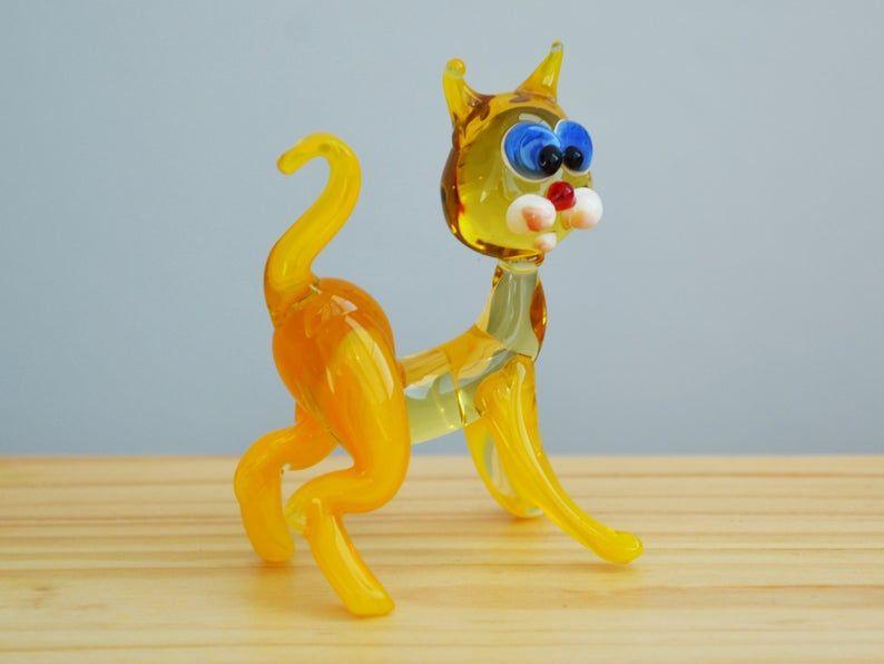 Yellow Glass Figurine Striped Cat Animals Glass Cat Miniature Artglass Cat Toys Murano Cat Animals Small Cat Figure Glass Cat Statues