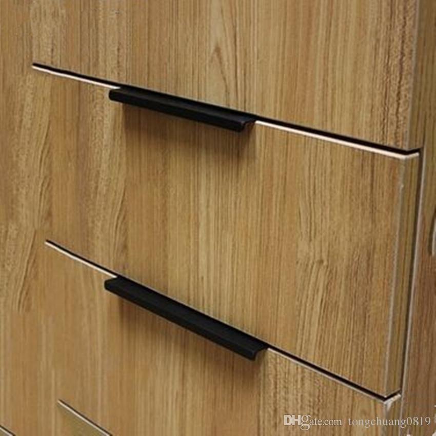 96mm 128mm 160mm Modern Simple Cabinet Door Edge Sealing Handles Antique Black Drawer Dresser Hide Pull