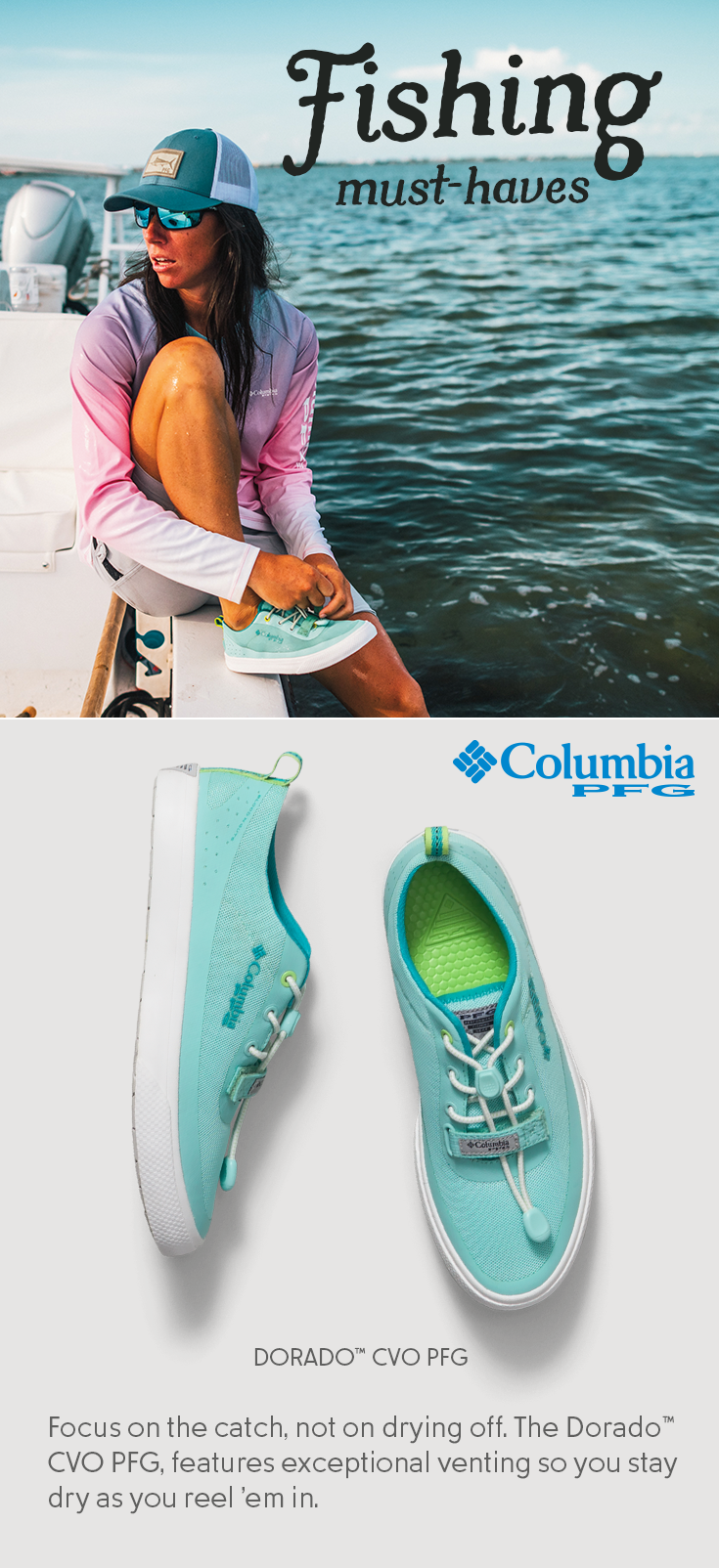 00eaabe41462 Our DORADO™ CVO PFG shoes are more than lightweight. They re vented to  breathe in water