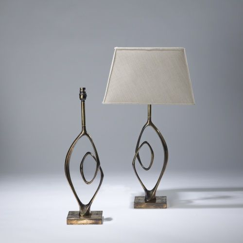 pair of medium gold antique bronze 'blair' lamps