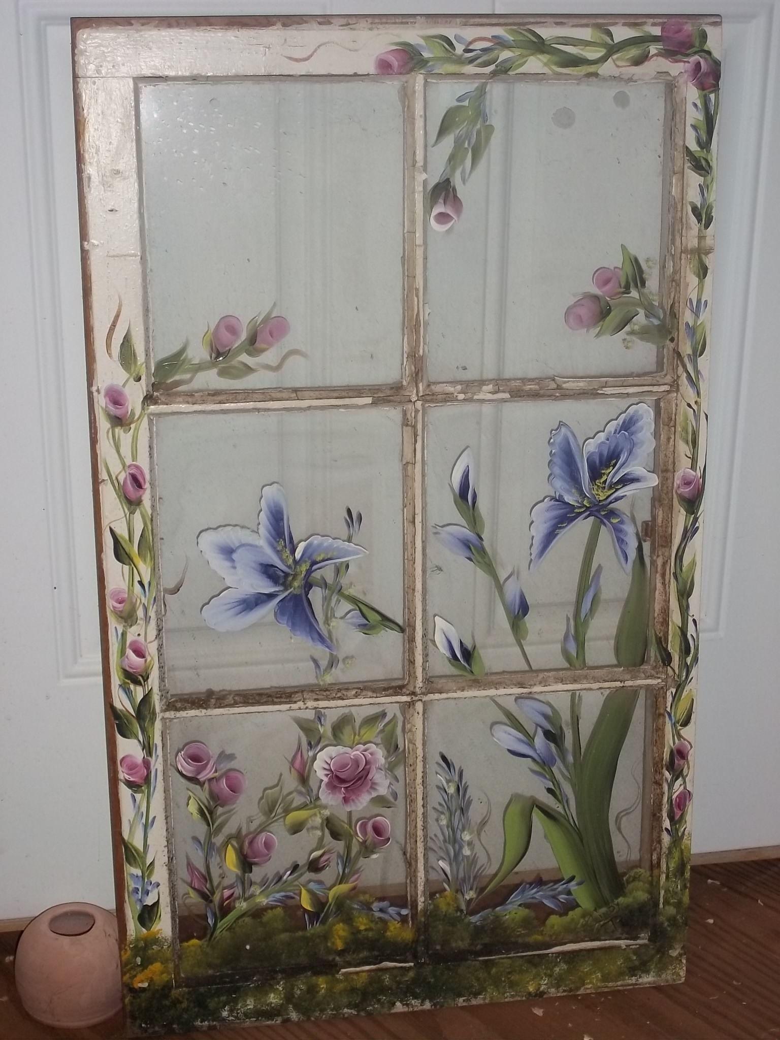 Painted Window Flowers   Upcycling   Old windows, Window pane art ...