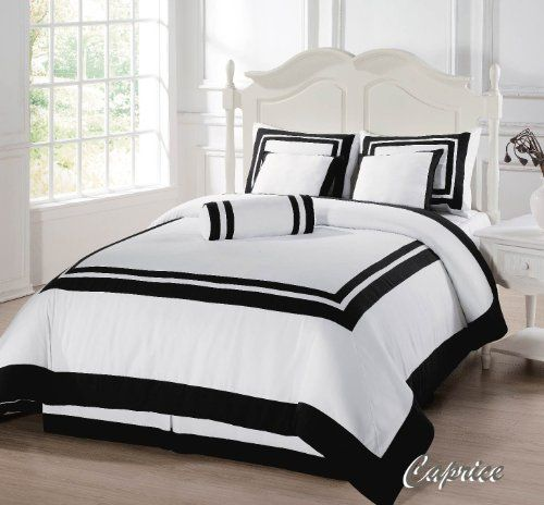 7 Pieces Caprice White with Black Square Pattern Hotel Comforter  Bed-in-a-bag Set Queen Size Bedding
