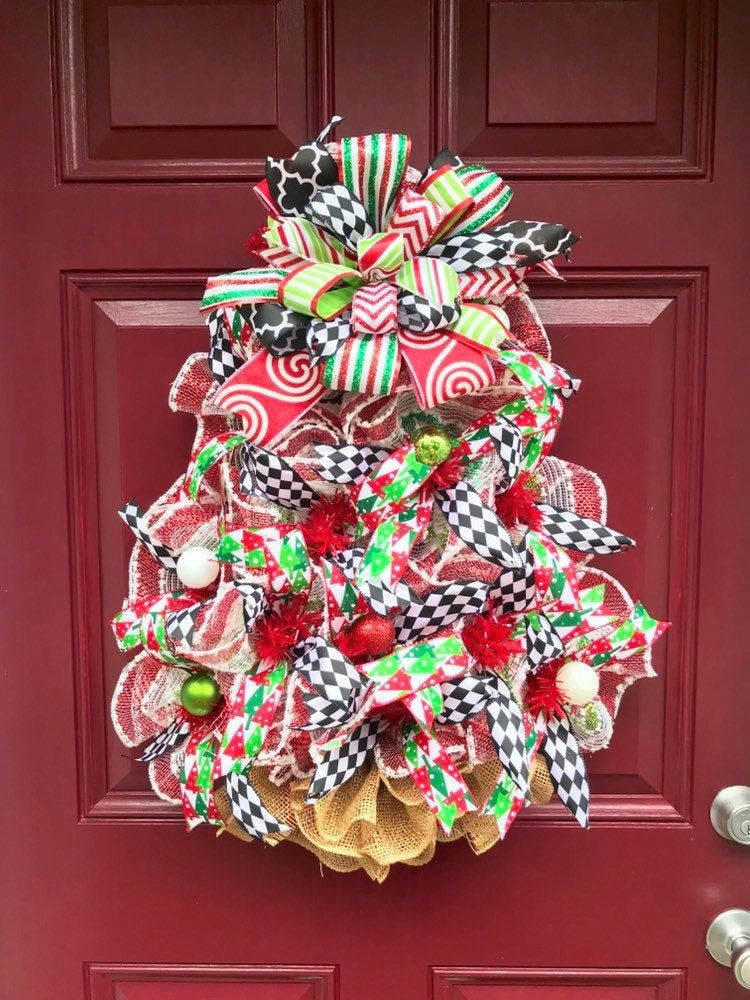 Christmas Tree Wreath For Front Door Holiday Tree Decoration Etsy Holiday Tree Decorations Mesh Christmas Tree Wreaths For Front Door