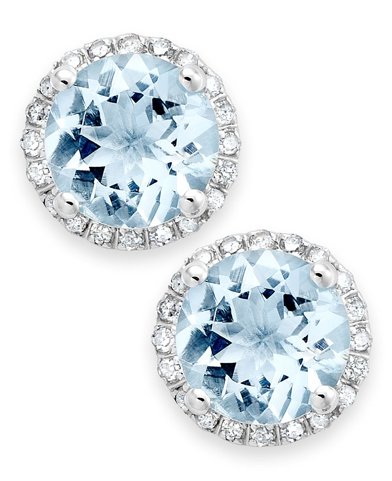 set plated fusion aqua platinum jacket silver earrings aquamarine halo stud marine