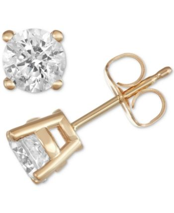 efa31418e Macy's Star Signature Diamond Stud Earrings (1 ct. t.w.) in 14k Gold or  White Gold - Yellow