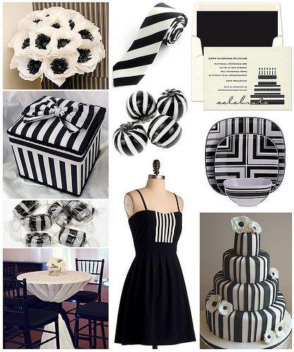 Black White Striped Birthday Soiree Black White Theme Black