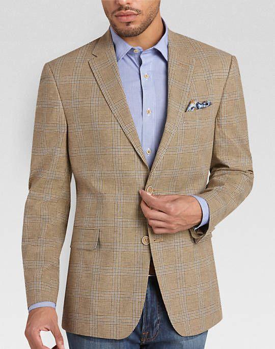 19b29549602 Tommy Hilfiger Brown and Blue Plaid Linen-Blend Slim Fit Sport Coat ...