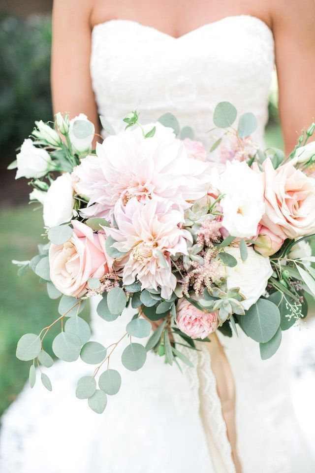 Blush pink and green bridal bouquet with eucalyptus