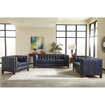Glenbrook 3-piece Top Grain Leather Set - Sofa, Chair, Ottoman | Our ...