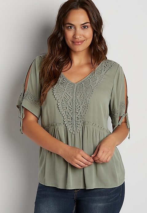 4316d4922ab09 Plus size peasant top with crochet and cold shoulders