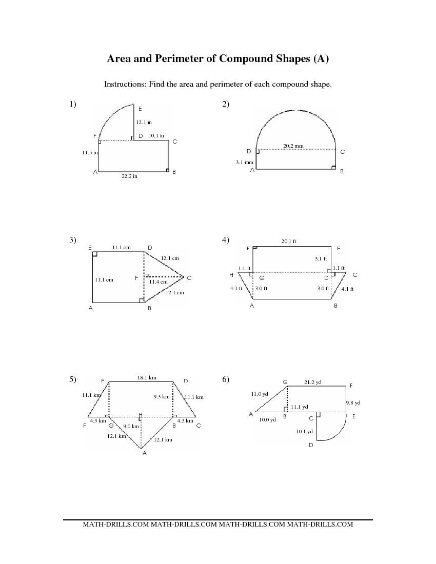 worksheet Compound Area Worksheet area and perimeter of compound shapes aa algebra pinterest measurement worksheet shapes