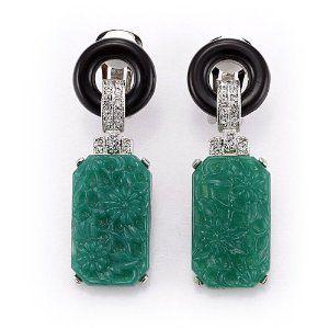 Kenneth Jay Lane Black And Jade Art Deco Clip Earring Black/jade L7Rff