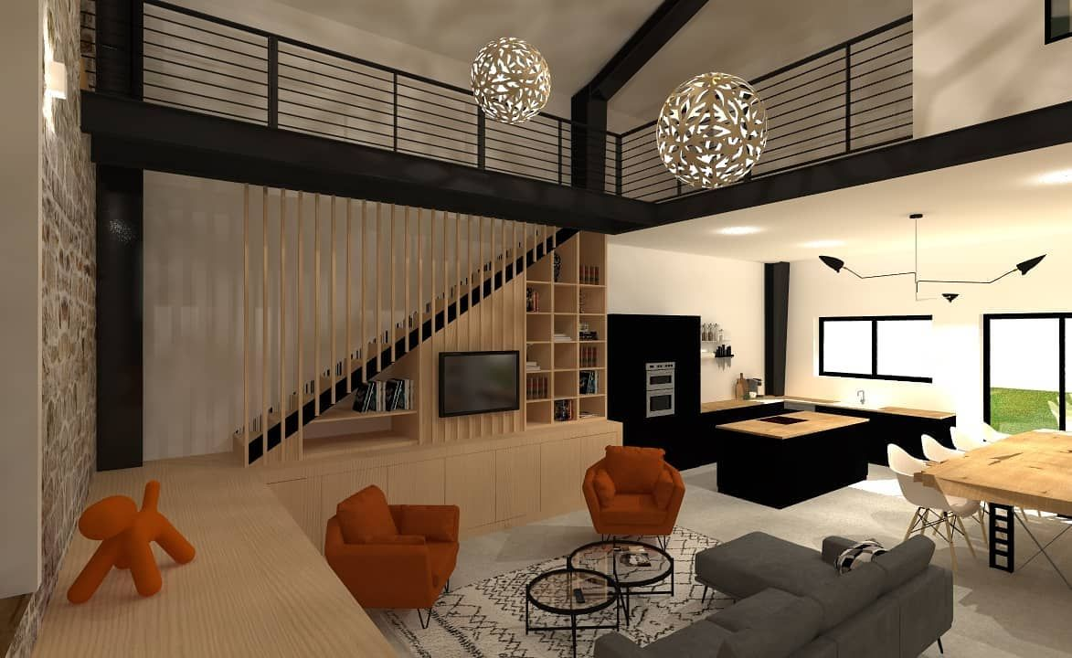 Rehabilitation D Une Grange Cremieu On Change De Perspective Avec Une Vue Sur L Escalier En 2020 Architecte Interieur Lyon Architecte Interieur Meubles Sur Mesure
