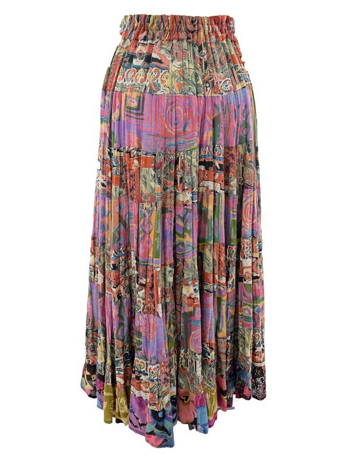 f7bf9e5487 Pre-owned gypsy skirt has a fabulous 70s hippie chick vibe to it.  Ethnic/tribal prints in tiered sections. Crinkle cotton gauze. Adjustable,  elastic waist.