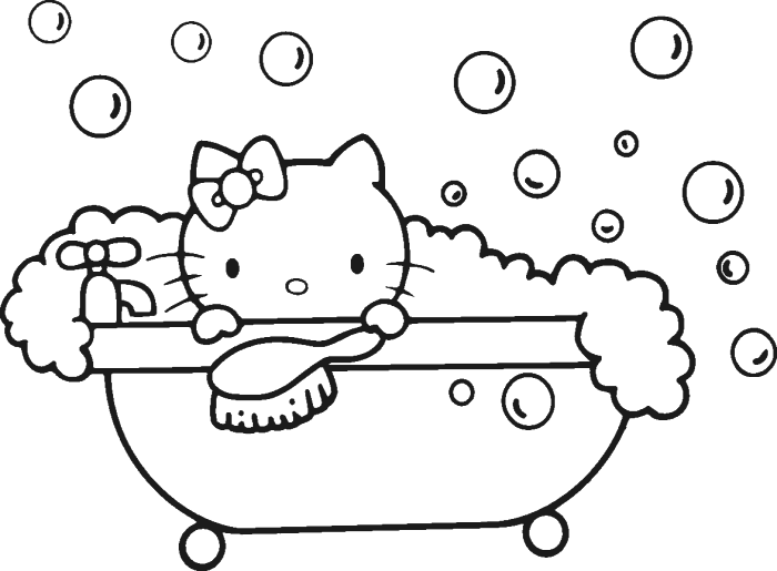 Hello Kitty Being Shower Fresh Coloring Page Rhpinterest: Hello Kitty Coloring Pages Shower At Baymontmadison.com