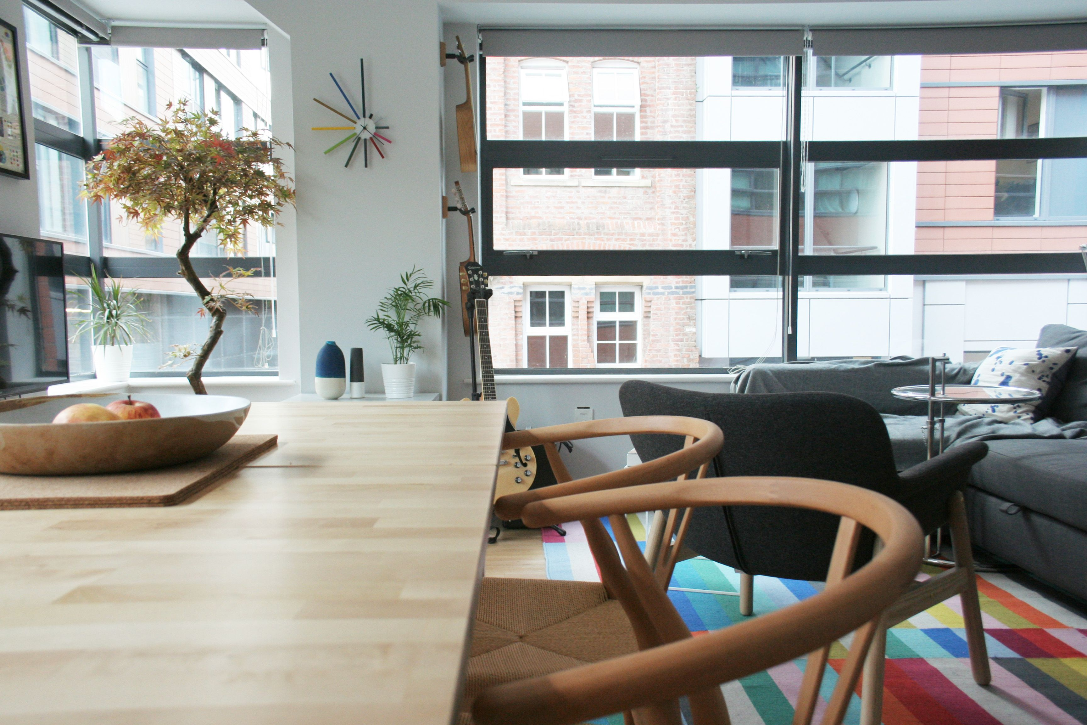 Manchester Flat Hans Wegner Wishbone chairs IKEA Vedbo armchair