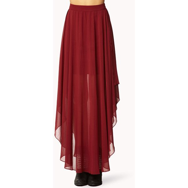 4c8a84646 LOVE 21 CONTEMPORARY Cascading Chiffon Skirt ($11) ❤ liked on Polyvore  featuring skirts,