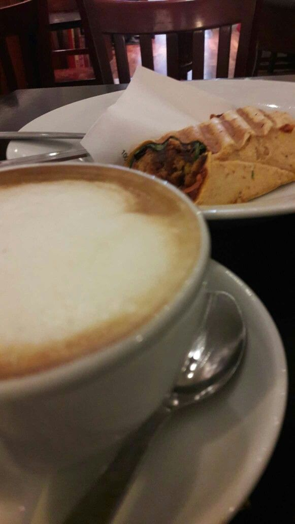 Just rewards after an excellent afternoon motivation session ,  @cafenero #soyamlk #flawhite #falafel #veggie