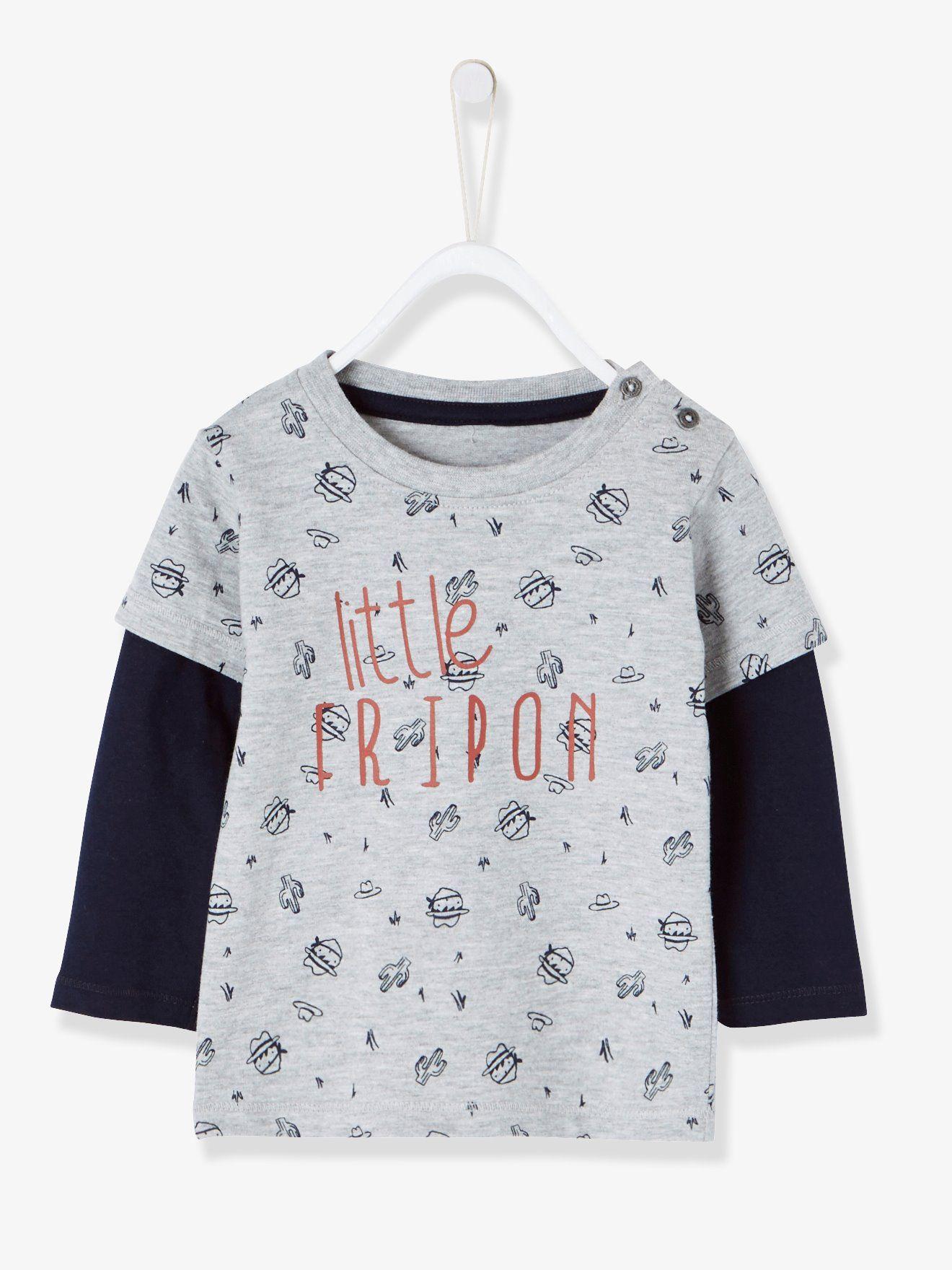T-shirt bébé garçon effet superposition gris chiné - Ah le petit fripon ! Le 5b5c14db616