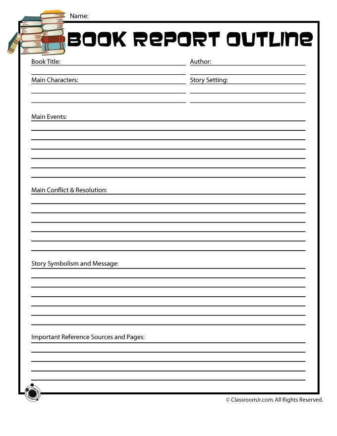 printable book report forms book report outline form for older readers classroom jr