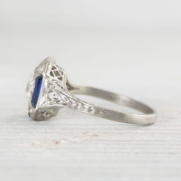 Image of 1.17 Carat Art Deco Diamond & Sapphire Engagement Ring