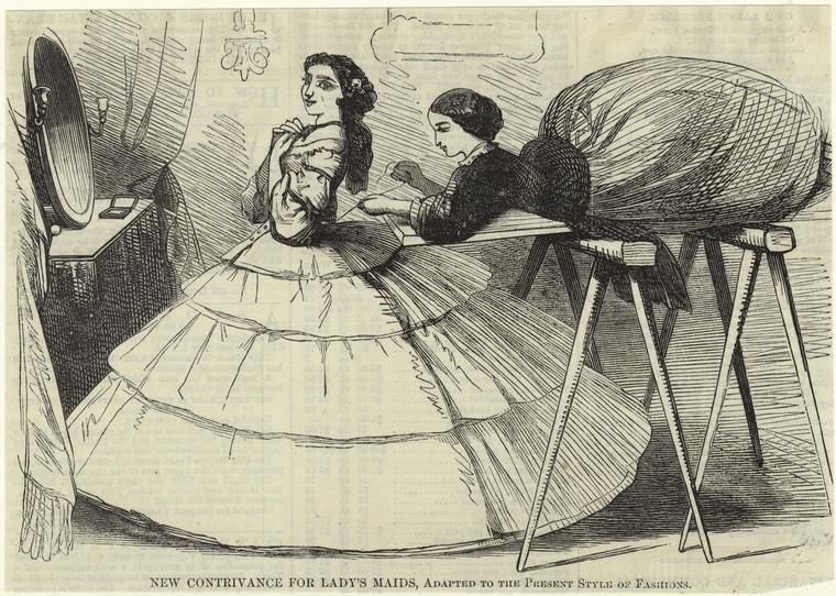 """Late 1850s crinoline cartoon. """"NEW CONTRIVANCE FOR LADY'S MAIDS, Adapted to the Present Style of Fashion."""" [jrb]"""