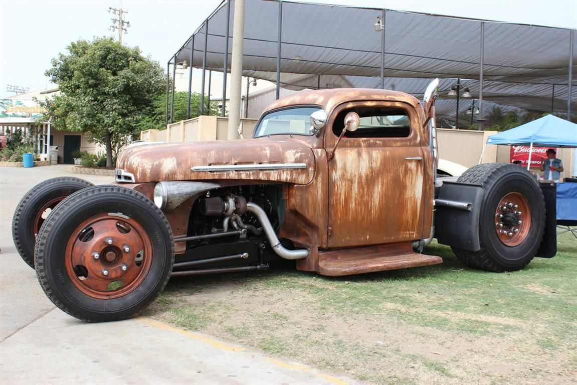 1951 Ford Rat Rod Pick Up Truck Flat Green 327 Small Journal Chevy ...