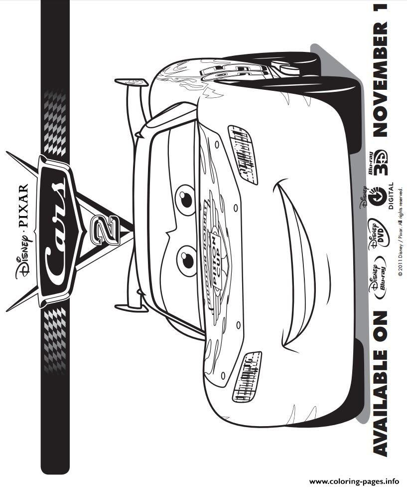 Print Lightning Mcqueen Cars 2 Coloring Pages