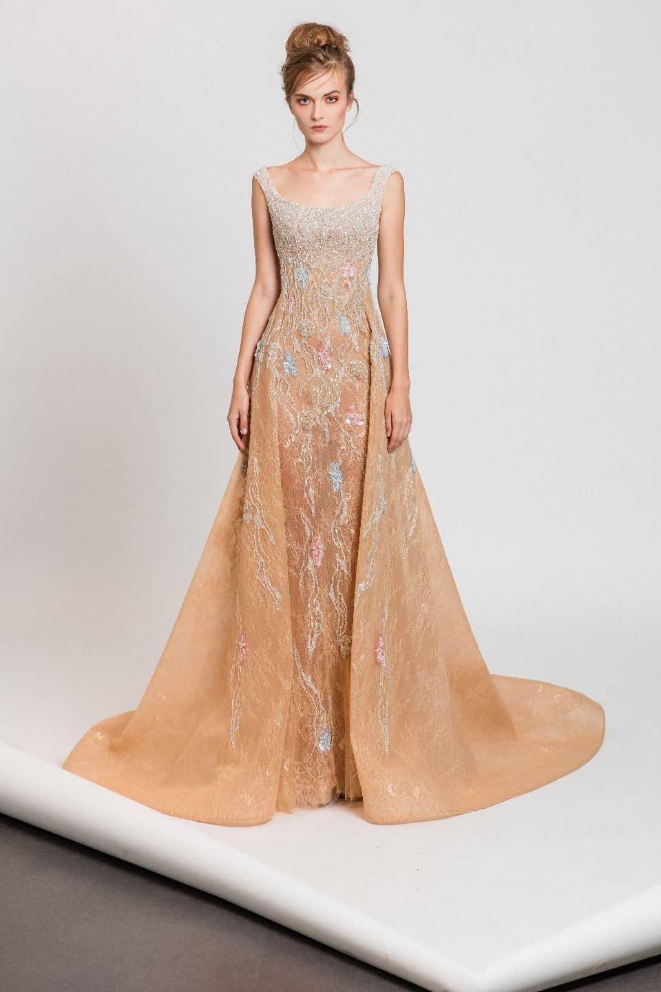 Off-the-shoulder nude ombré evening dress in embroidered lace ...