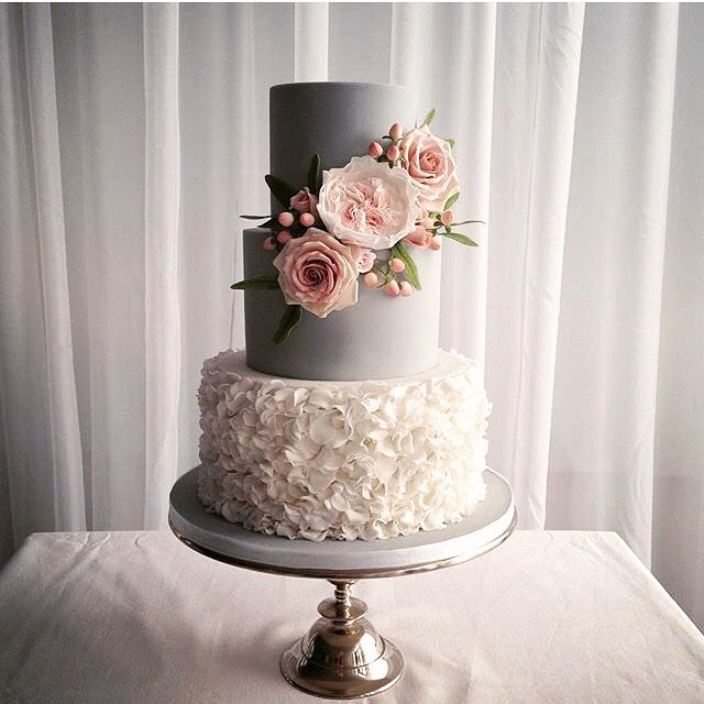 Grey And White Ruffle Wedding Cake With Custom Made Sugar Flowers By Cake Couture NI