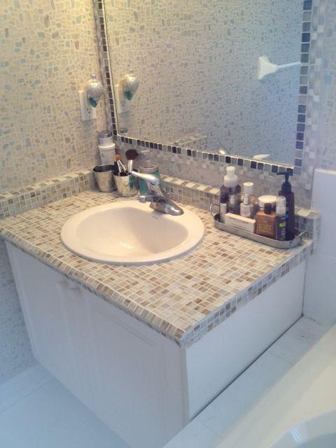 Diy Vanity Tile Over Old Laminate Countertop Tiled Mirror