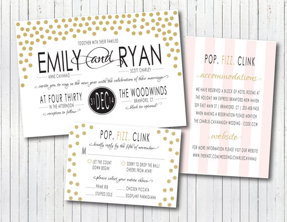 New Year\'s Eve Wedding Invitation - Confetti - Gold and Blush ...