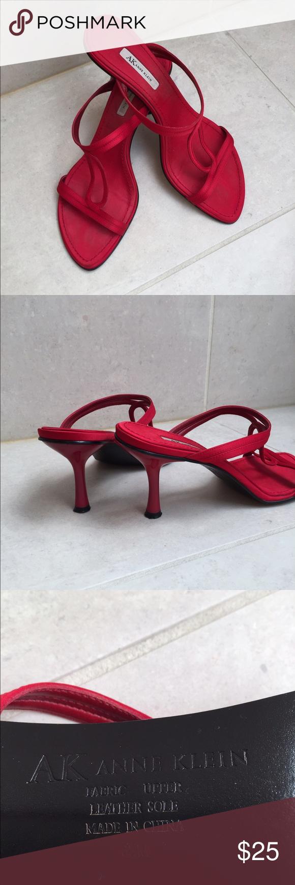 Anne Klein heels Beautiful red satin Anne Klein heeled sandals. Leather sole. Size 6.5 Anne Klein Shoes Heels