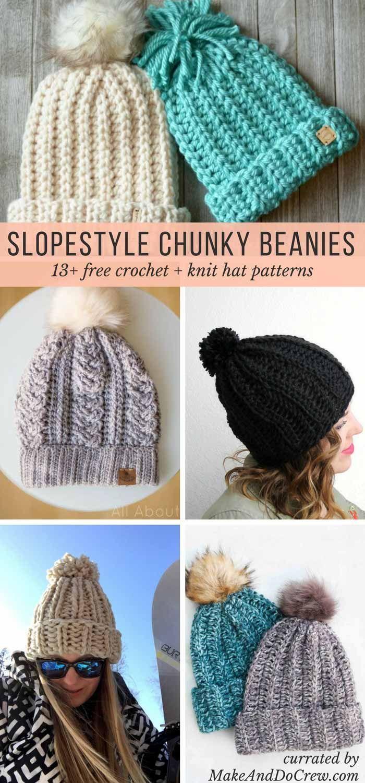 Slope Style: 13 FREE Knit + Crochet Chunky Hat Patterns | Häkeln