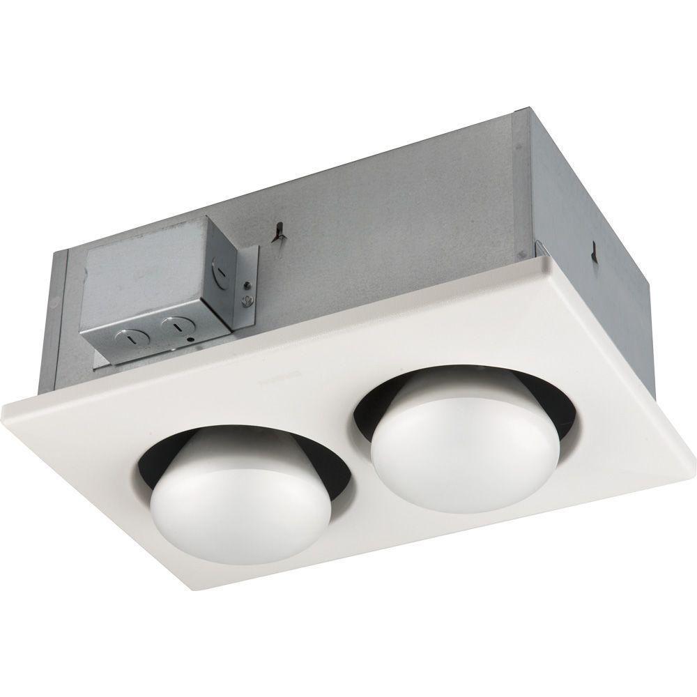 250 Watt Infrared 2 Bulb Ceiling Heater White Bathroom Heat Lamp Bathroom Heater Broan