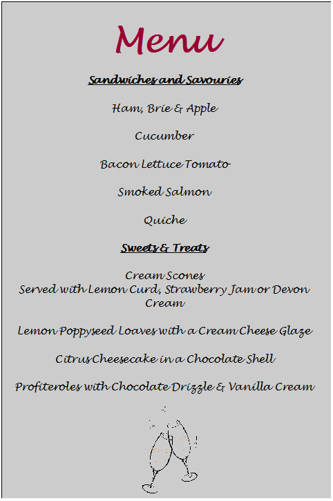 tea party menu template - Google Search | tea party | Pinterest ...