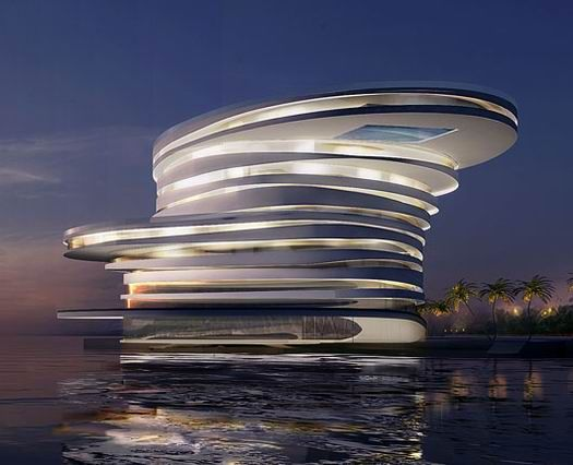 Helix hotel abu dhabi leeser architecture with glass bottom pool at top