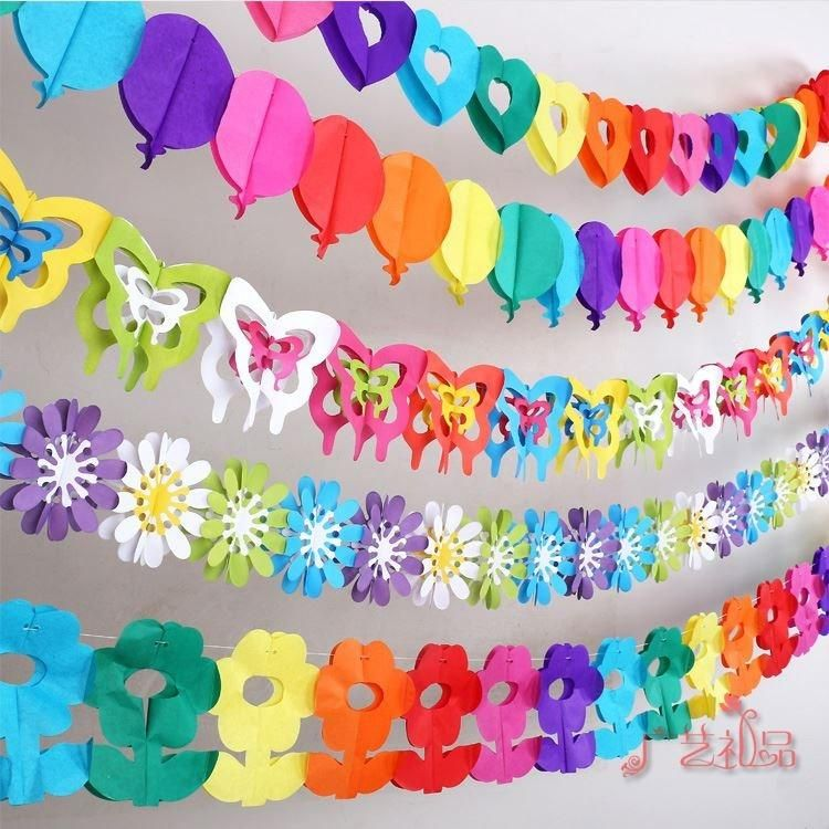 Colorful Paper Garlands Creative Cutting Arrangement Birthday Holiday Decoration Items Baby Wedding Party Dress Online With 456 Piece On