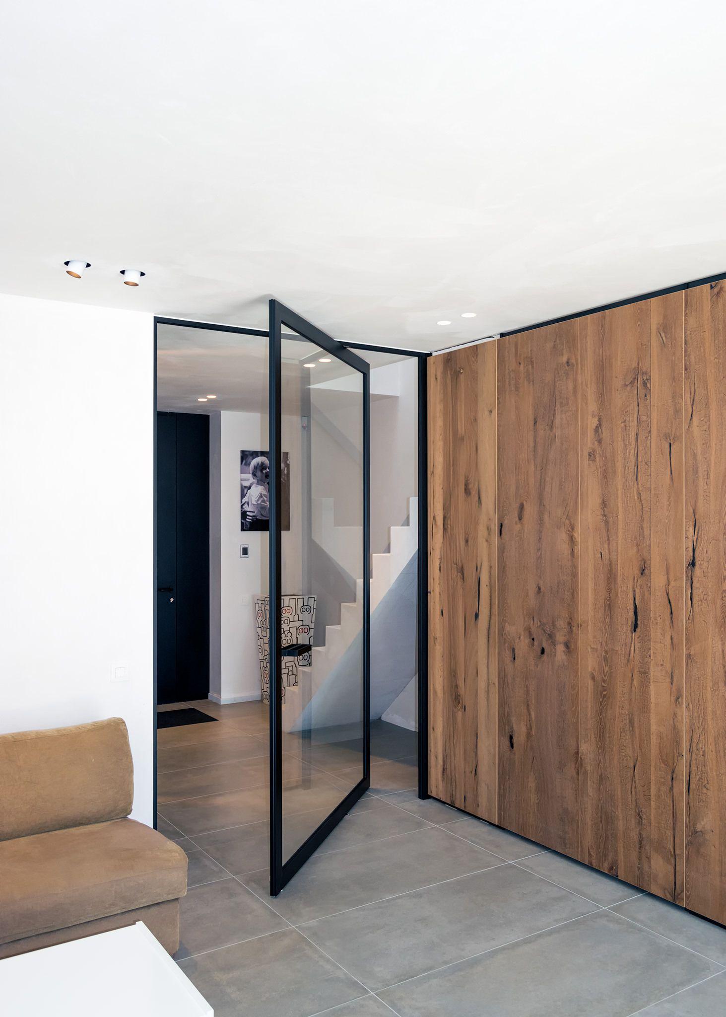 Porte Vitrée Look Acier Sur Pivot Désaxé GLASS STEEL DOORS - Porte vitrée sur pivot