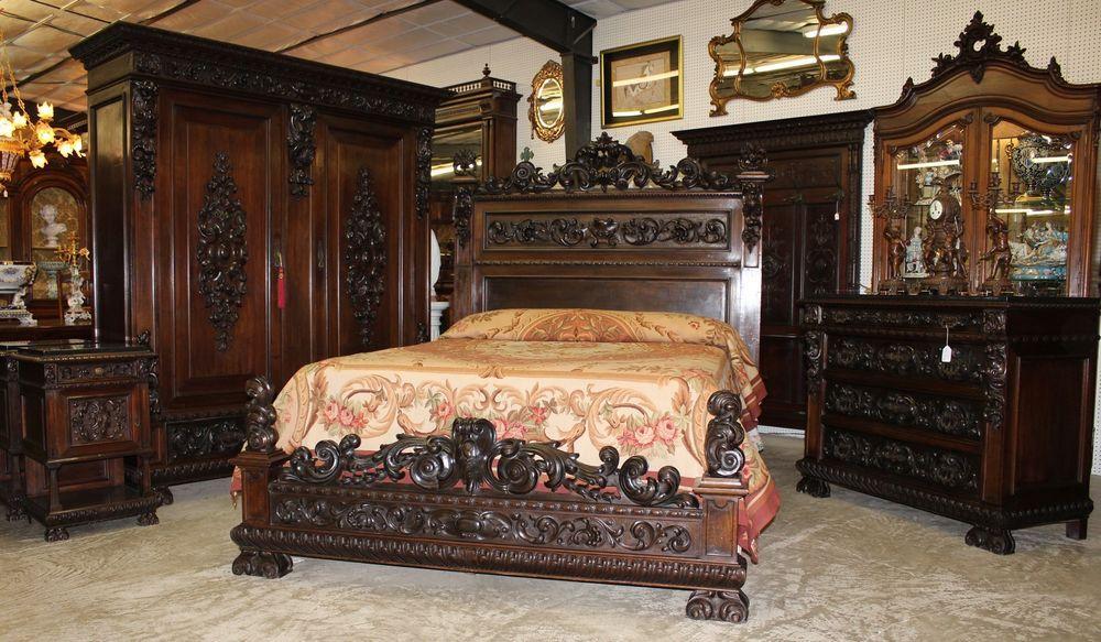 Antique Carved Italian Walnut 19th Century Five Piece Queen Bed Bedroom  Suite #Baroque